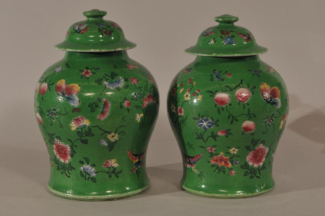 Pair of porcelain covered jars. China. 19th century. - 5