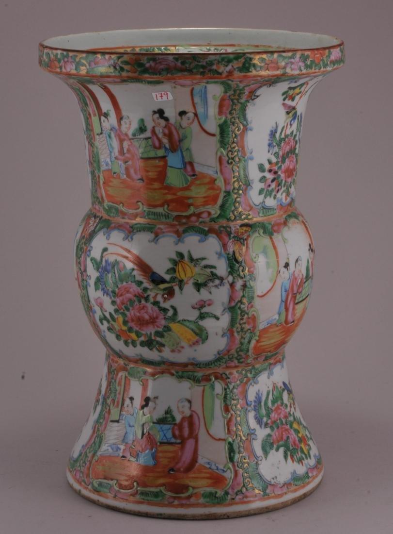 Porcelain beaker vase. China. 19th century. Rose