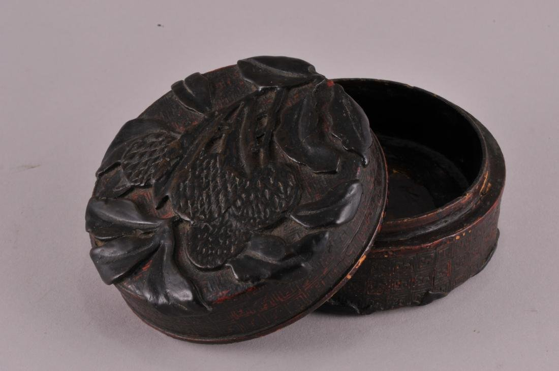 18th/19th century Chinese carved lacquer round covered