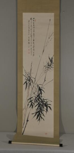 Hanging scroll. Ink on paper. Scene of bamboo. Overall