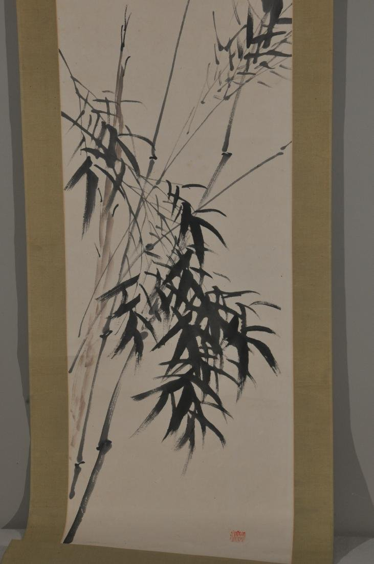 Hanging scroll. Ink on paper. Scene of bamboo. Overall - 3
