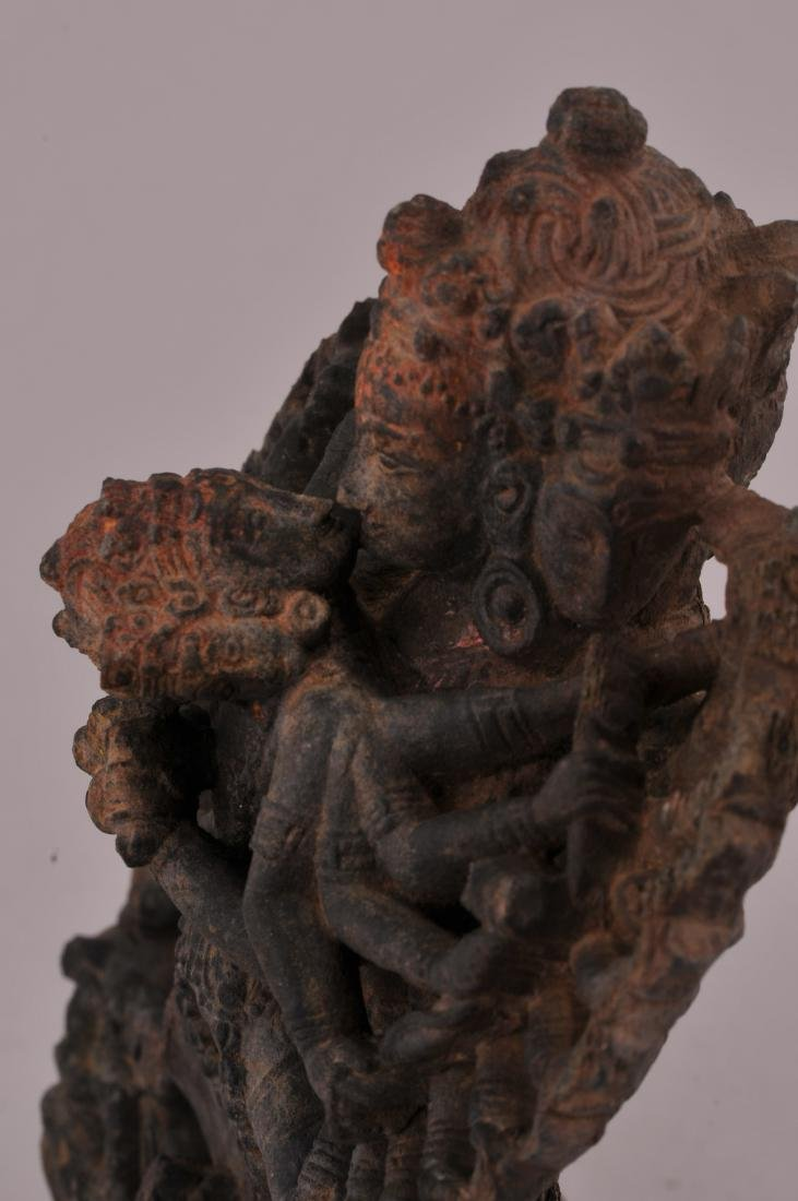Carved stone Tantric image. Nepal of Tibet. 18th - 5