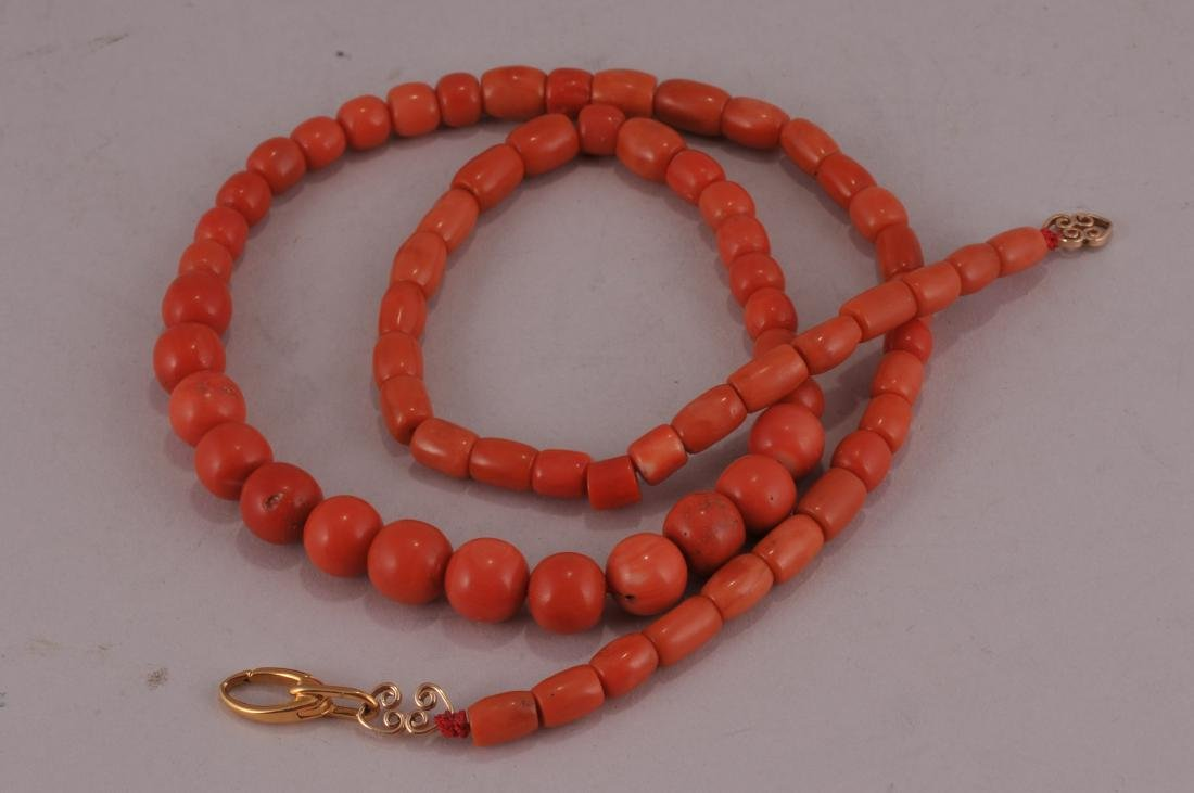 """Set of coral beads. 14 kt clasp.  Deep colour. 23"""" bead"""
