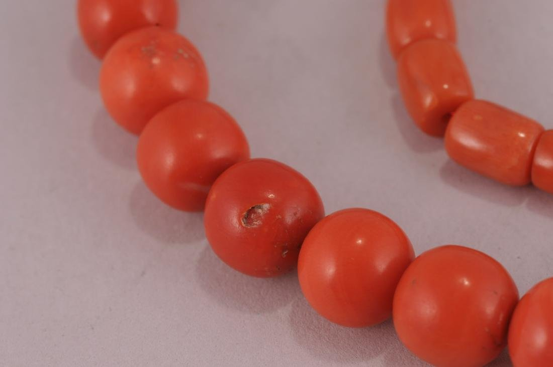 """Set of coral beads. 14 kt clasp.  Deep colour. 23"""" bead - 3"""