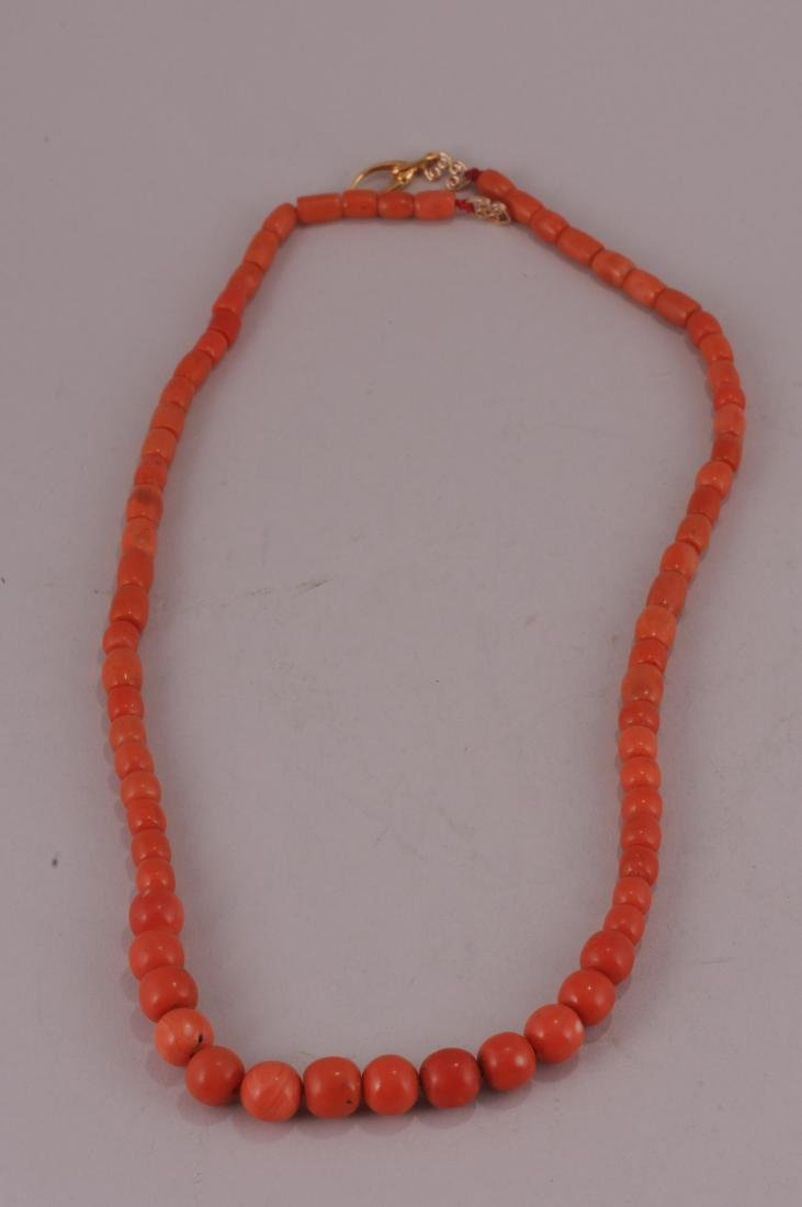 """Set of coral beads. 14 kt clasp.  Deep colour. 23"""" bead - 5"""