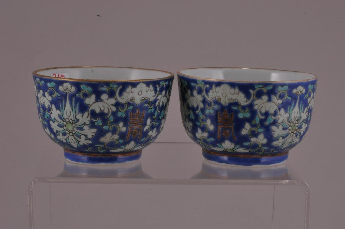Pair of porcelain cups. China. Early 20th century. Blue - 4