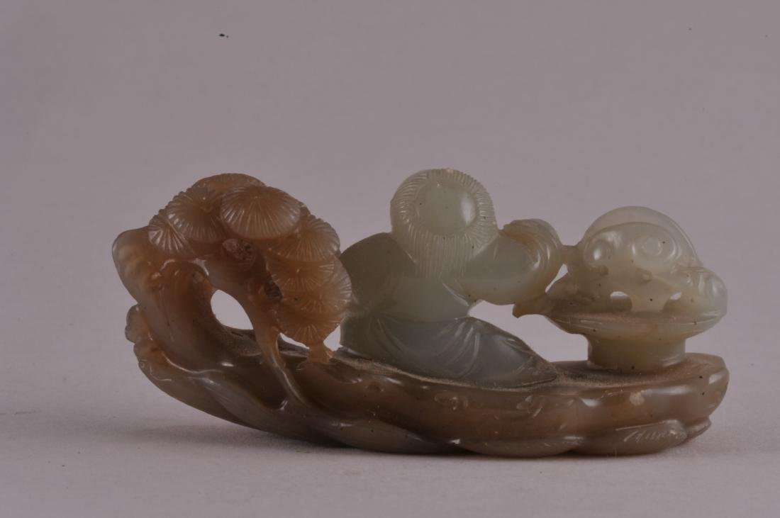 19th century Chinese brown and celadon jade carving of - 2