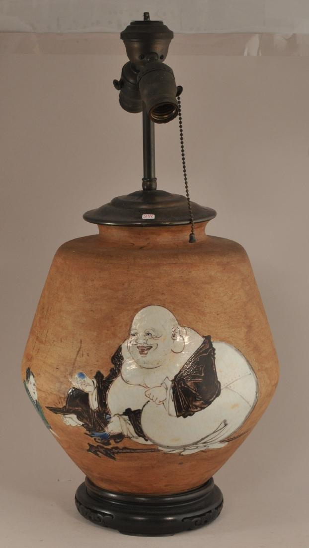 Stoneware jar. Japan. 19th century.  Glaze decoration