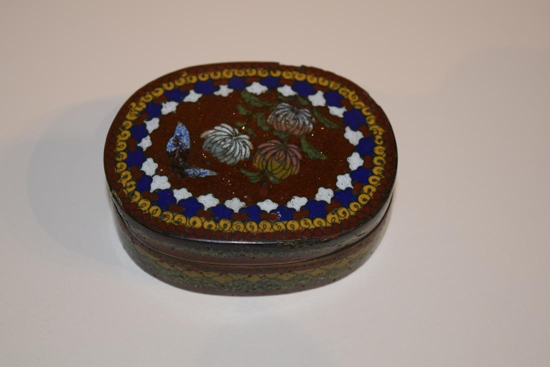 Four Japanese Cloisonne small covered boxes. Largest - - 2