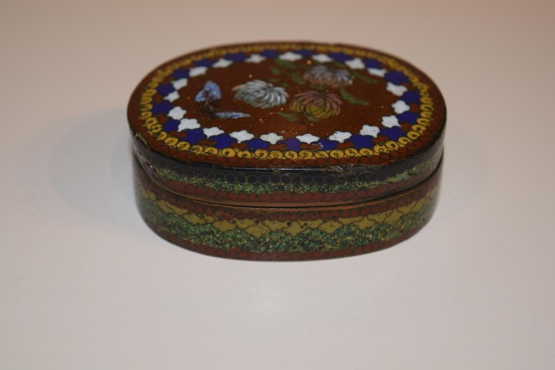 Four Japanese Cloisonne small covered boxes. Largest - - 3