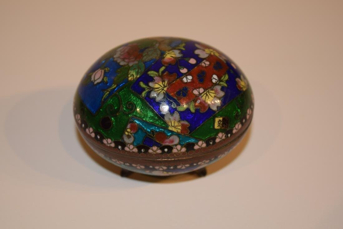 Four Japanese Cloisonne small covered boxes. Largest - - 6
