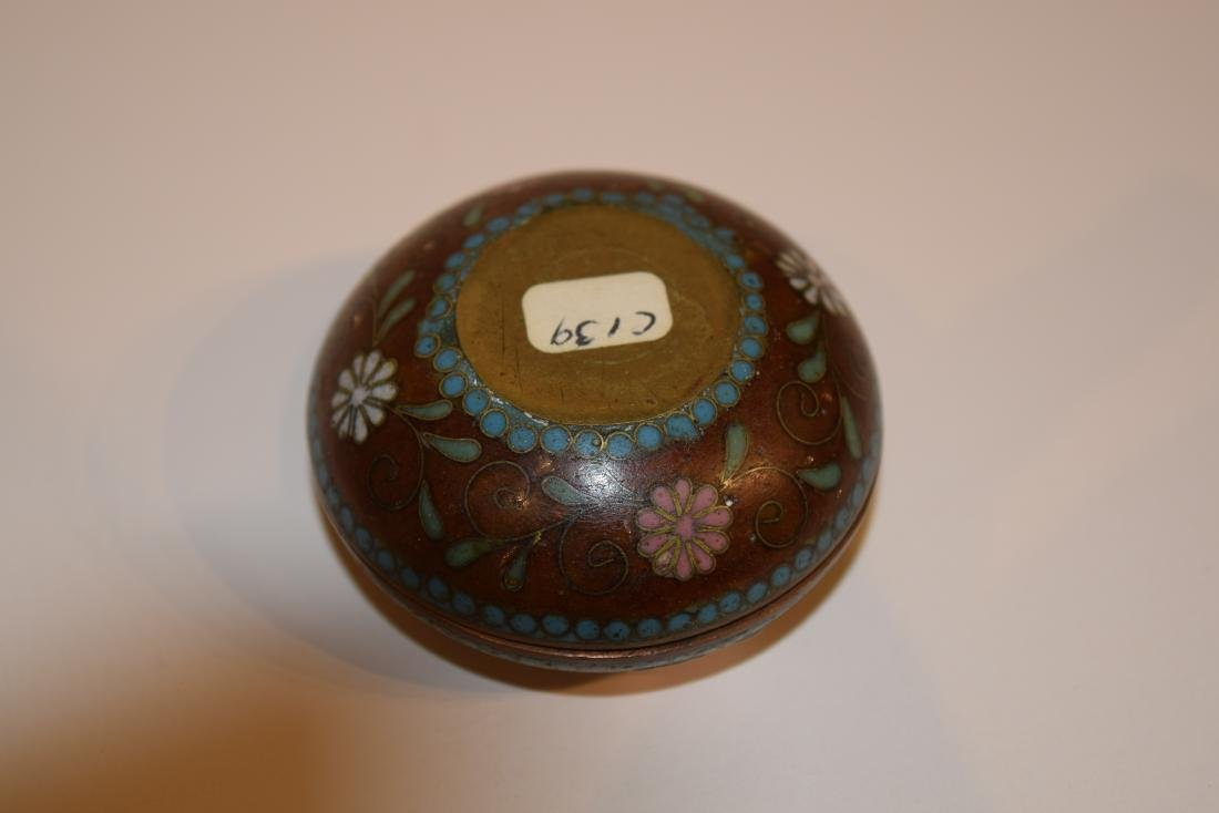 Four Japanese Cloisonne small covered boxes. Largest - - 9