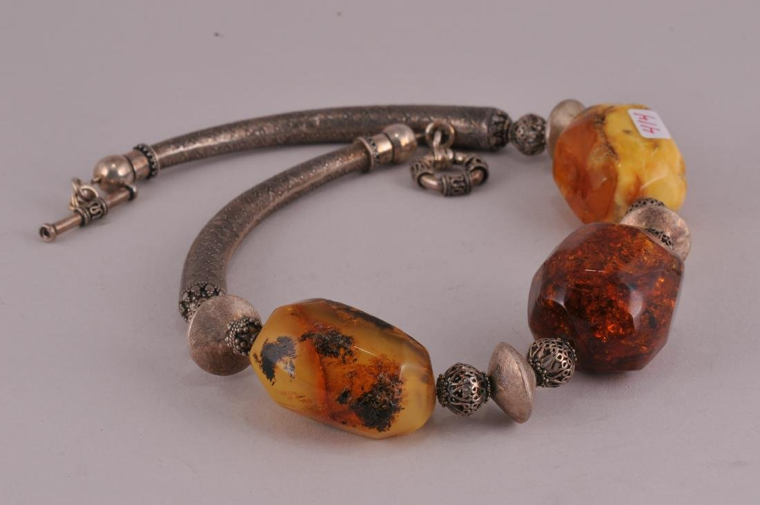 Asian sterling silver and large faceted Amber nugget - 2