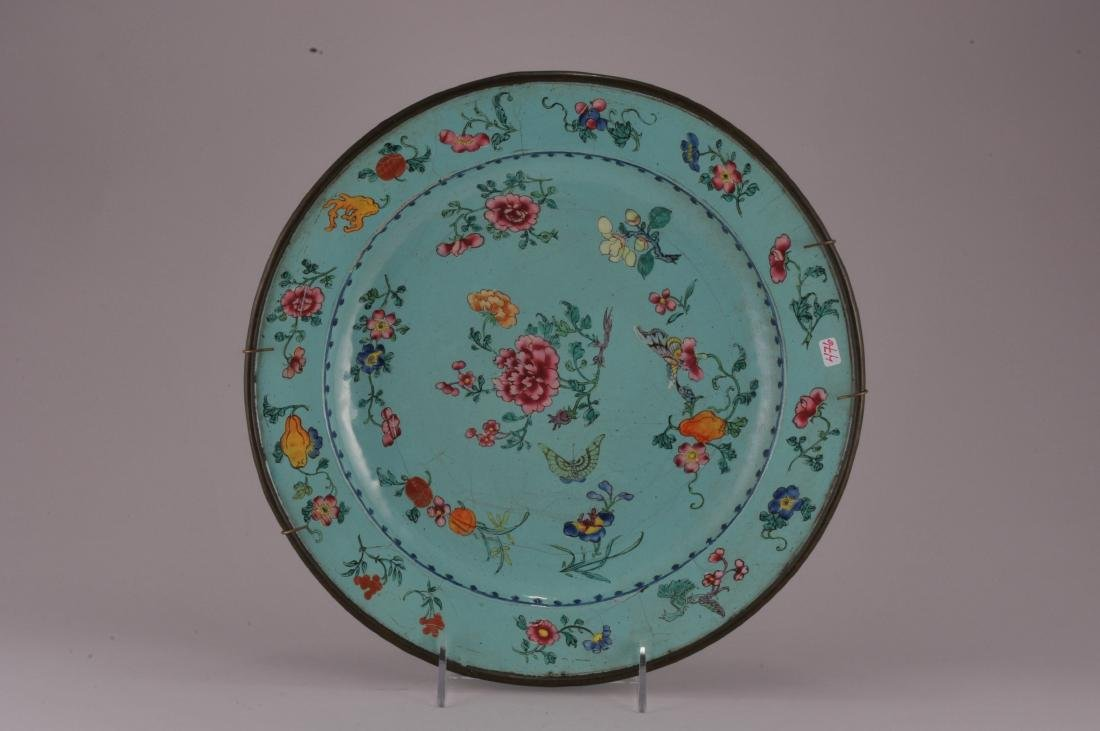 18th/19th century Canton enamel large turquoise ground