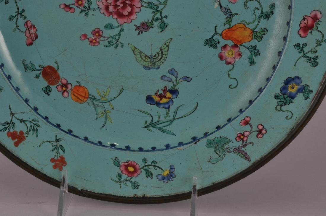 18th/19th century Canton enamel large turquoise ground - 3