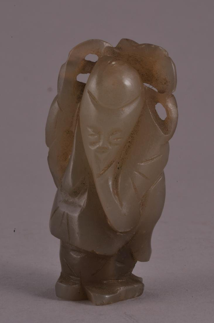 19th century Chinese carved grey jade standing figure