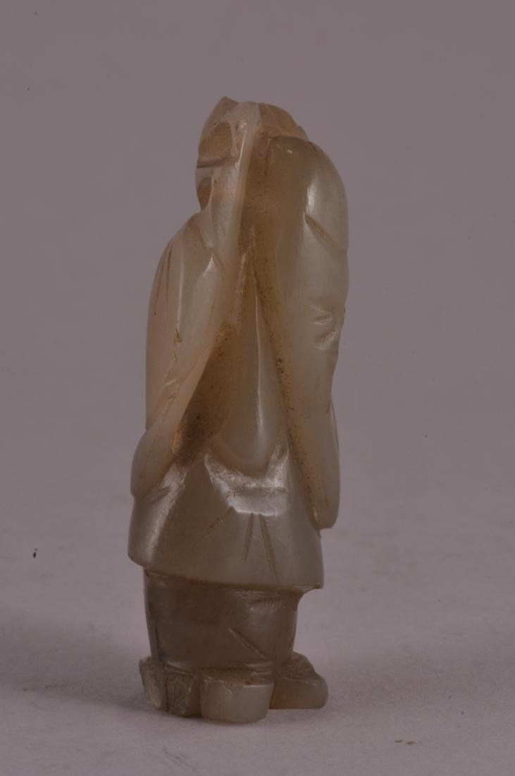 19th century Chinese carved grey jade standing figure - 2