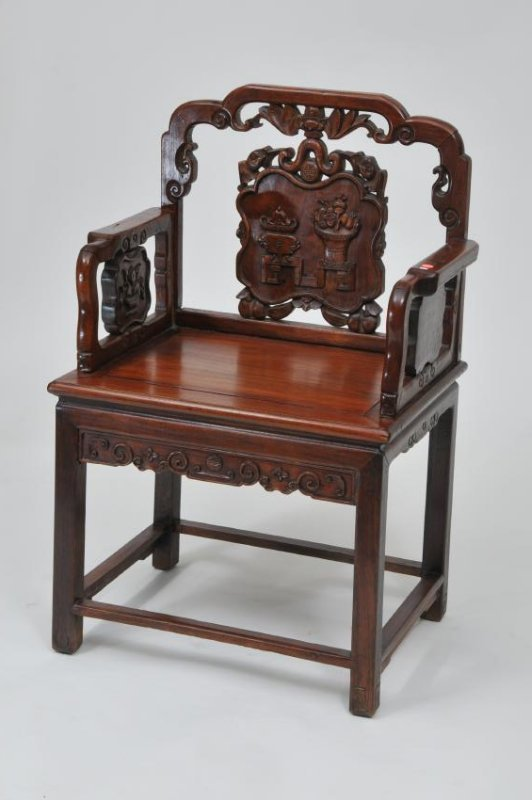 Rosewood  chair. China. 19th century. Surfaces carved w - 2