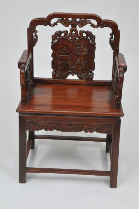 Rosewood  chair. China. 19th century. Surfaces carved w - 3