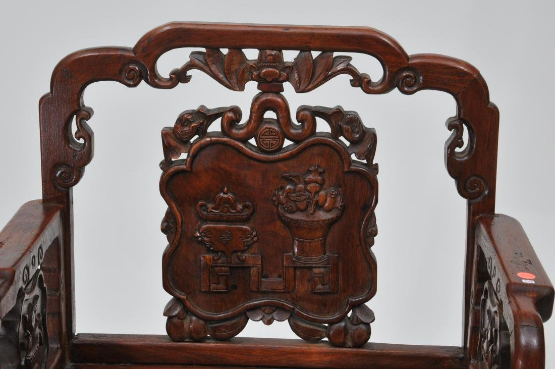 Rosewood  chair. China. 19th century. Surfaces carved w - 4