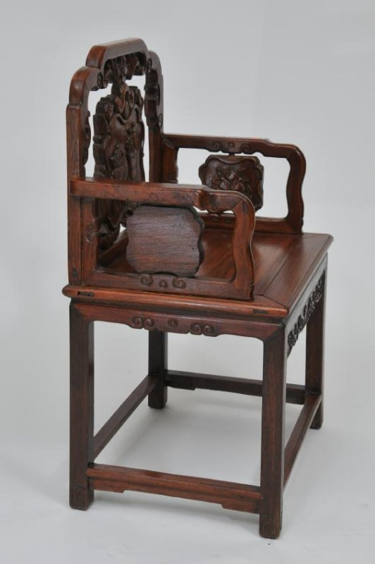 Rosewood  chair. China. 19th century. Surfaces carved w - 6