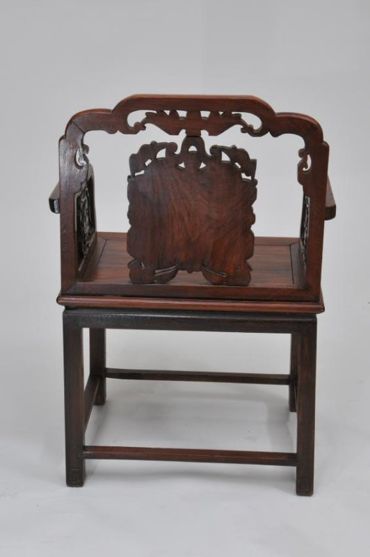 Rosewood  chair. China. 19th century. Surfaces carved w - 8