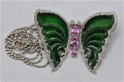 18k white gold butterfly brooch, featuring jade, pink