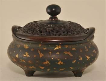 Bronze  gold splashed bombe form censer. China. Ming