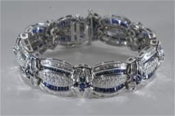 18k white gold, diamond, and sapphire bracelet. Overall