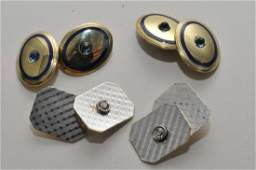Two pairs of 14k gold cufflinks One pair with two