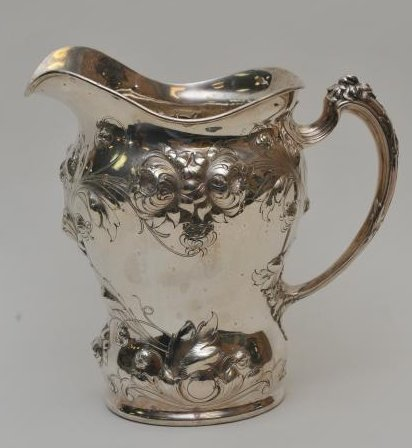 Large Gorham sterling silver floral repousse decorated