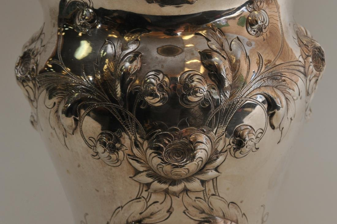 Large Gorham sterling silver floral repousse decorated - 5