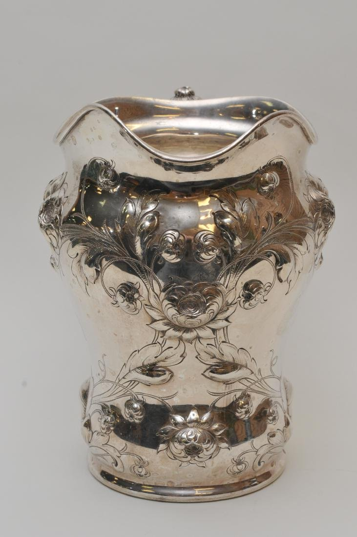 Large Gorham sterling silver floral repousse decorated - 6