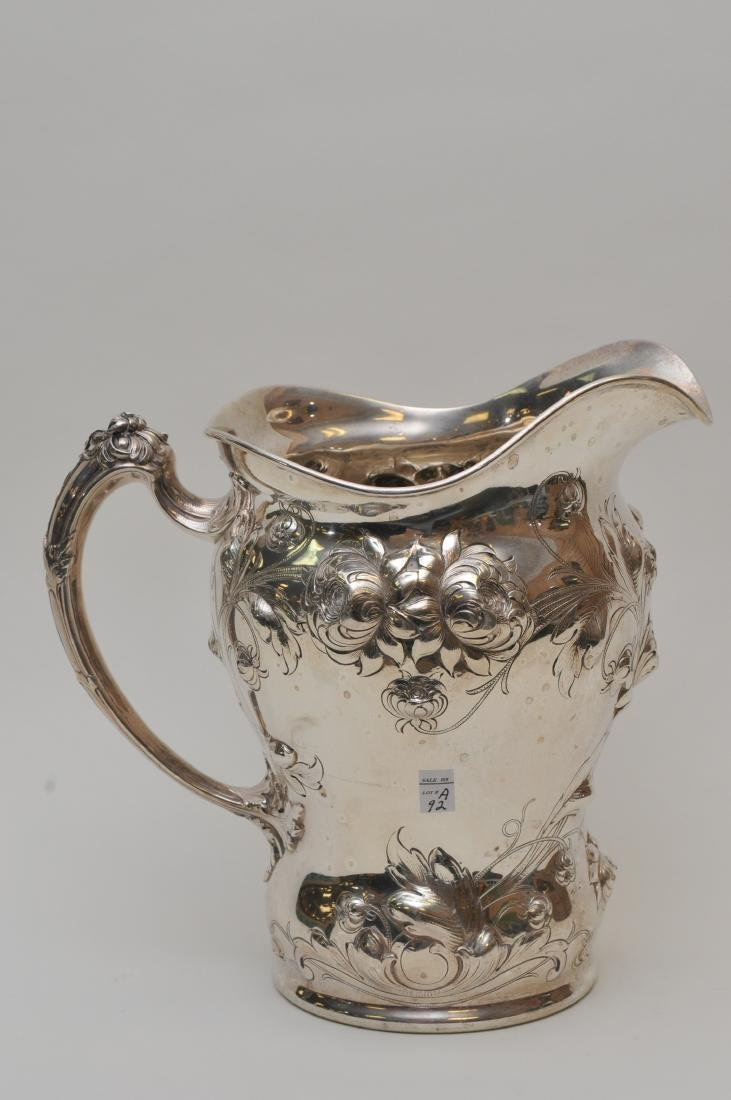 Large Gorham sterling silver floral repousse decorated - 7