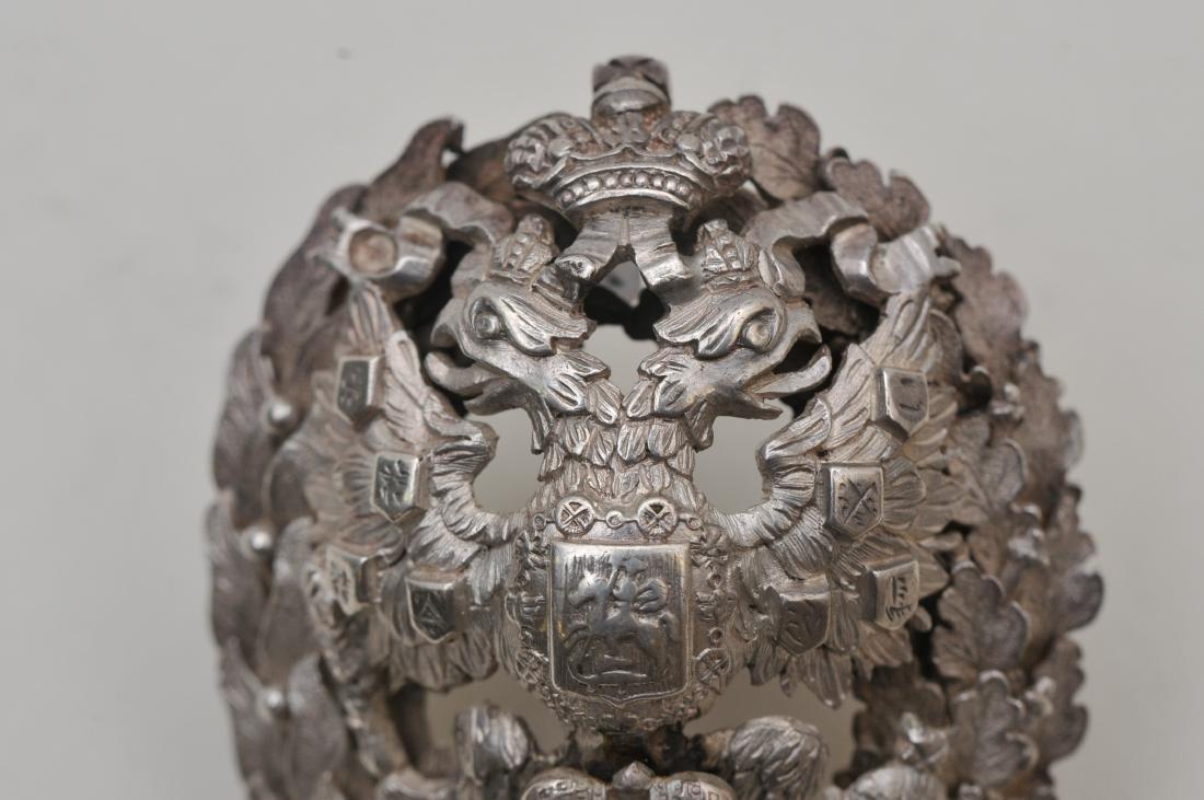 19th/20th century Russian silver heavy hat ornament. - 2