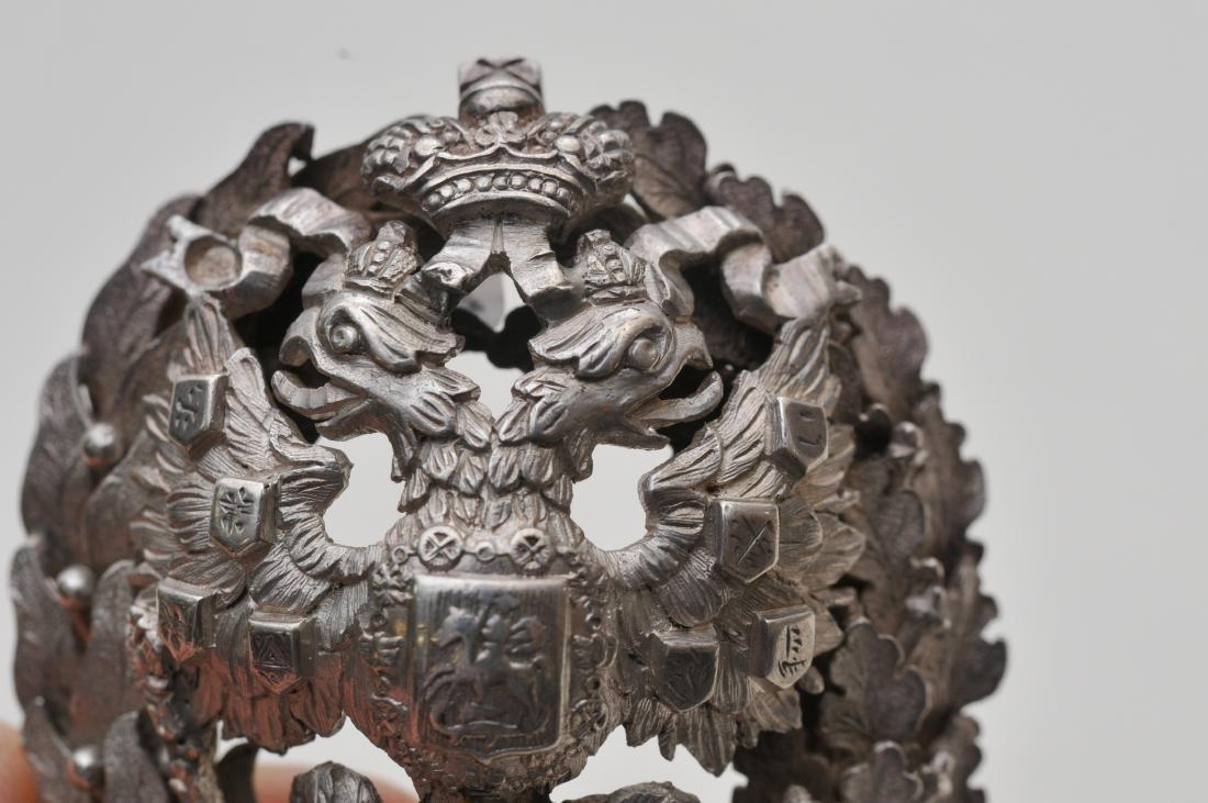 19th/20th century Russian silver heavy hat ornament. - 7