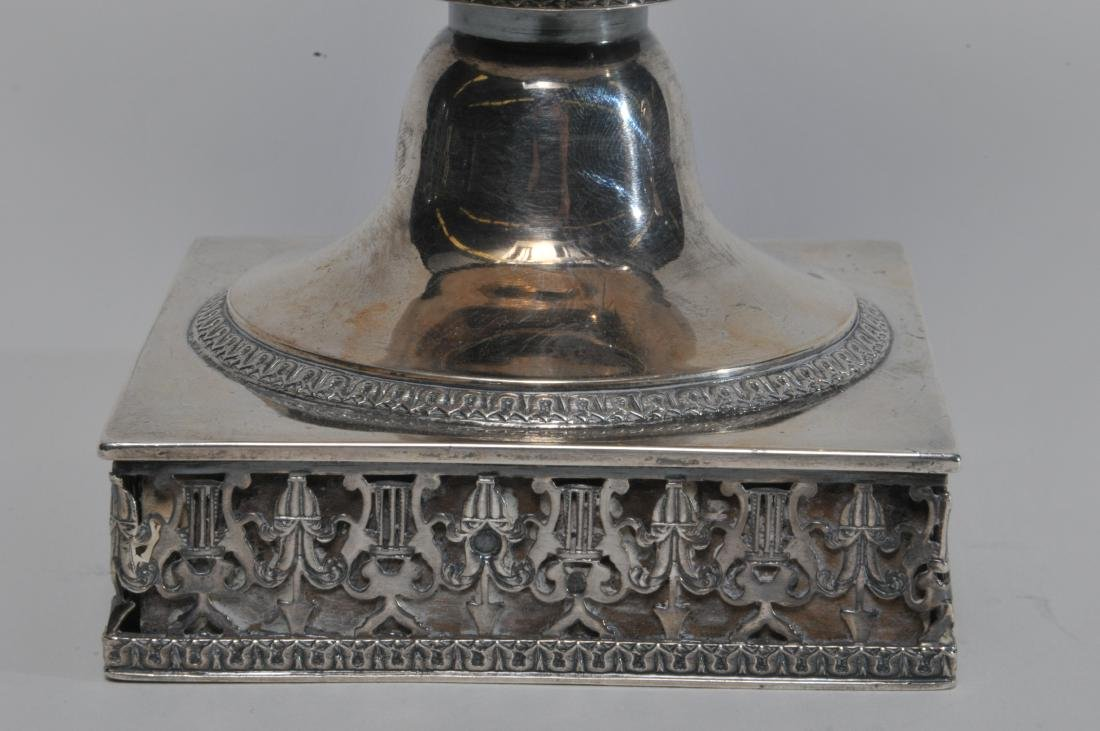 19th century French Empire silver two handled vase with - 6