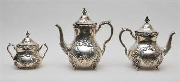 Old English hand chased sterling silver three piece