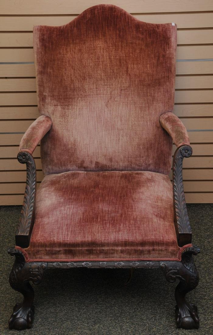 19th century English Chippendale mahogany library chair