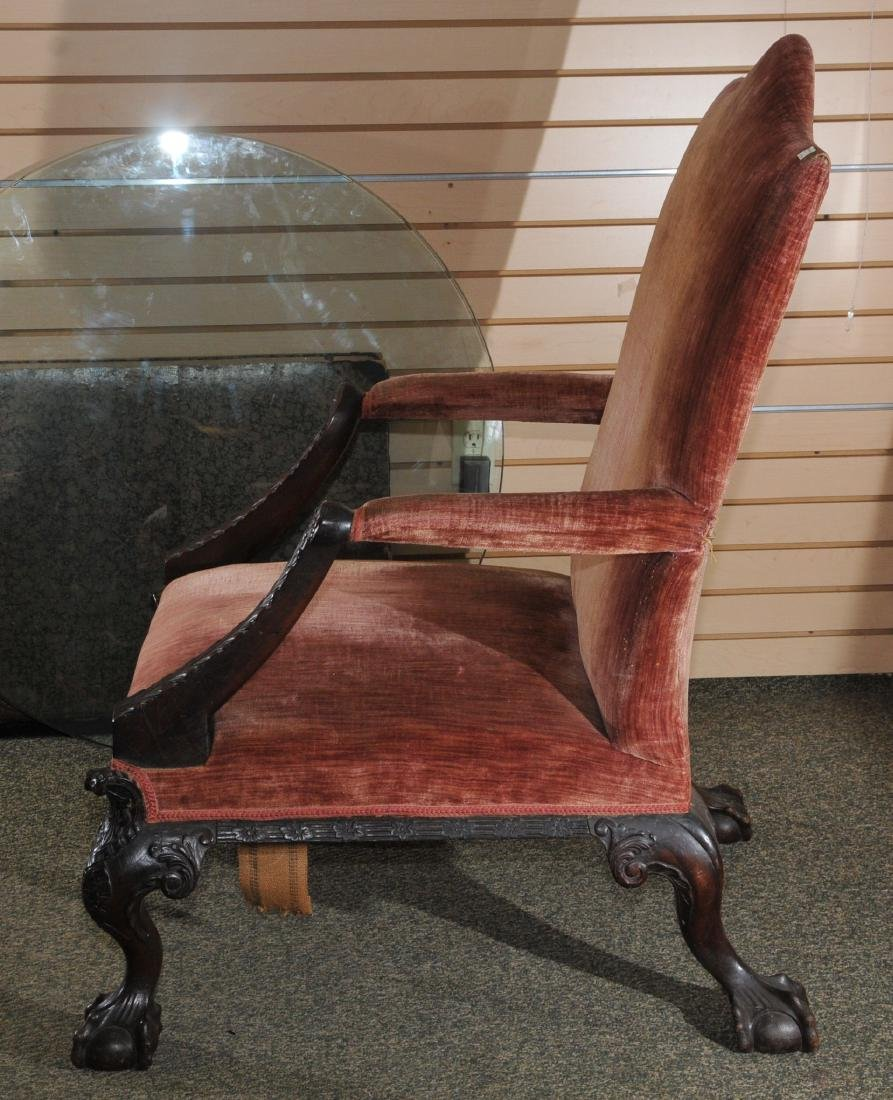 19th century English Chippendale mahogany library chair - 2