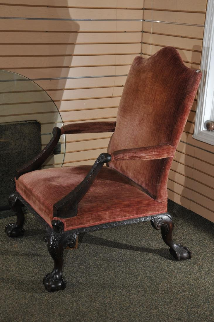19th century English Chippendale mahogany library chair - 3