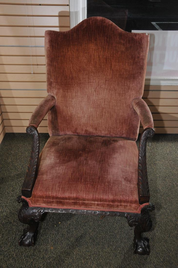 19th century English Chippendale mahogany library chair - 8