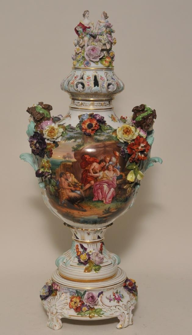 19th/20th century large impressive hand painted Dresden