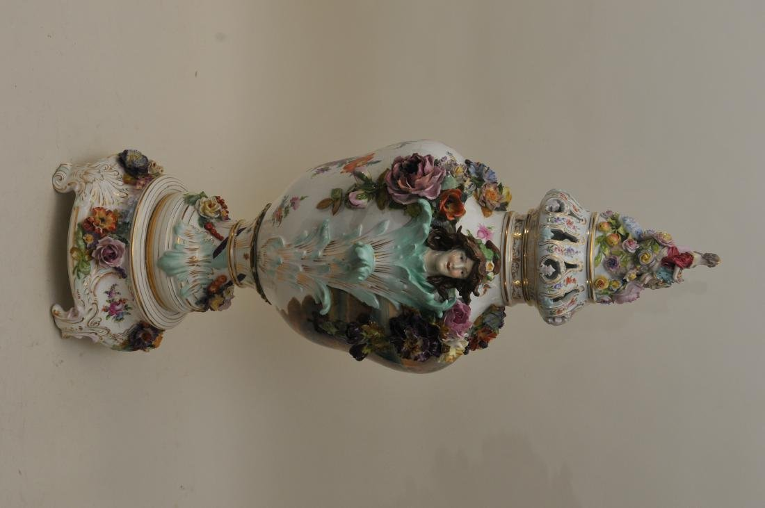 19th/20th century large impressive hand painted Dresden - 6