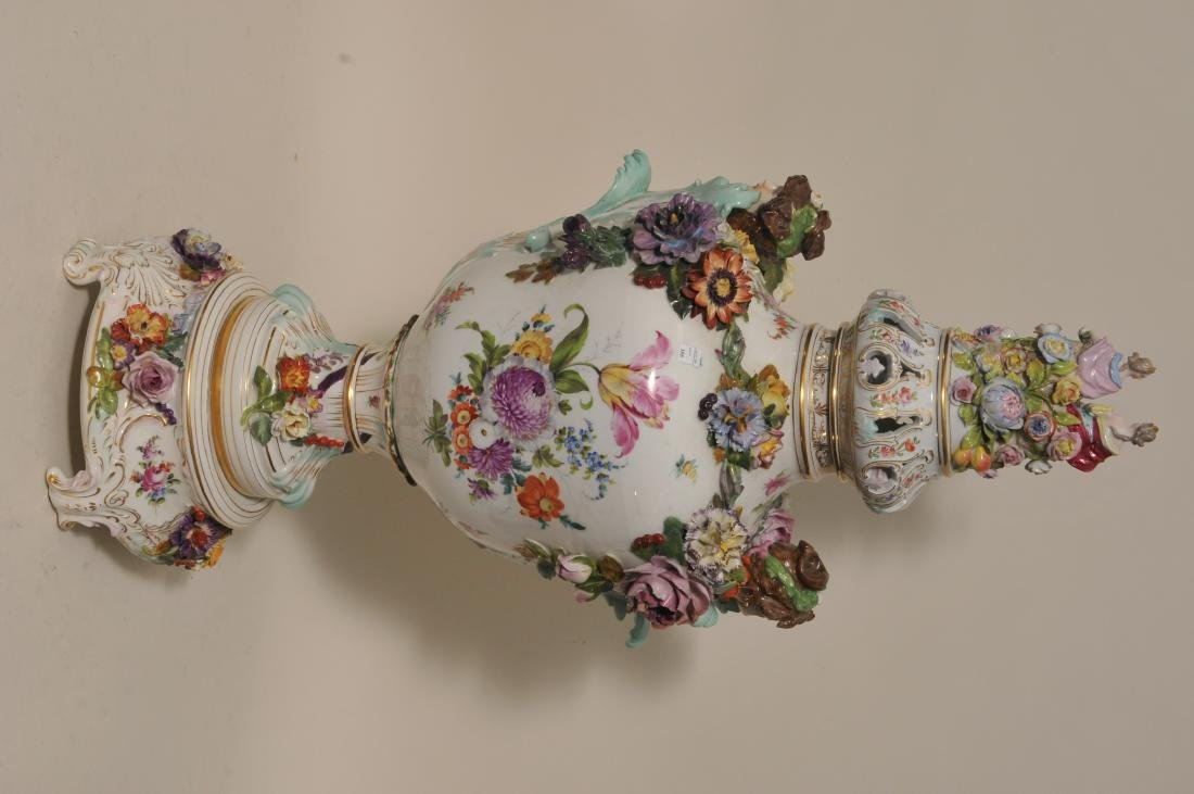 19th/20th century large impressive hand painted Dresden - 8