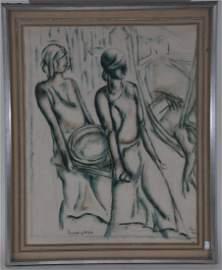 Leopold Gottlieb. Paris 1926 mixed media painting