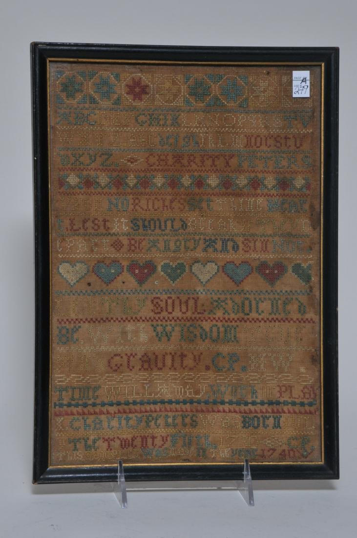 1740 American Needlework sampler made by Charity