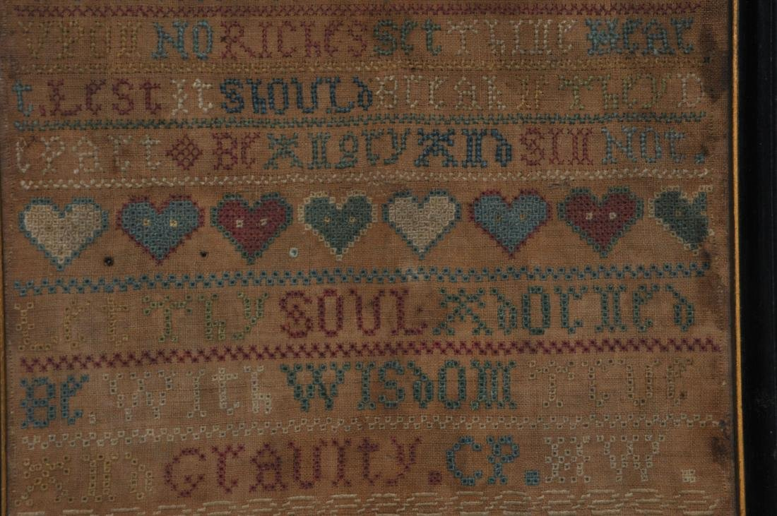 1740 American Needlework sampler made by Charity - 3