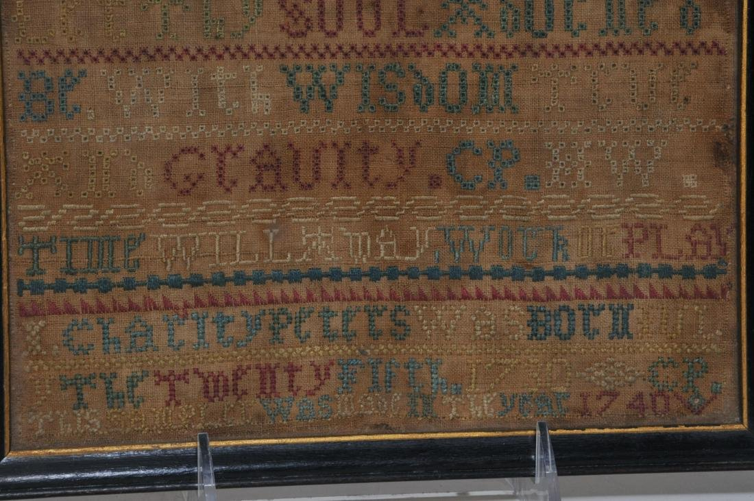 1740 American Needlework sampler made by Charity - 4