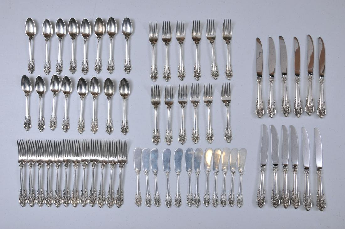 """Wallace """"Grand Baroque"""" sterling silver 52 piece"""